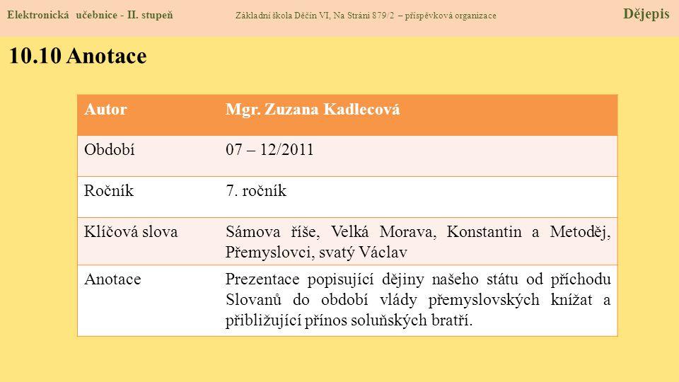 10.9 Použité zdroje, citace Elektronická učebnice - II. stupeň Základní škola Děčín VI, Na Stráni 879/2 – příspěvková organizace Dějepis 1. H. Mandelo