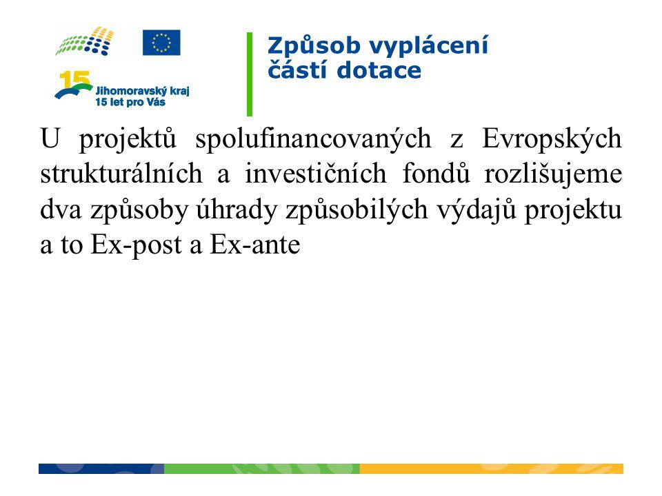 Způsob vyplácení částí dotace U projektů spolufinancovaných z Evropských strukturálních a investičních fondů rozlišujeme dva způsoby úhrady způsobilýc