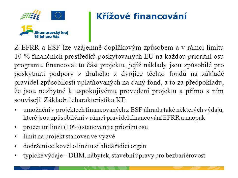 Křížové financování Z EFRR a ESF lze vzájemně doplňkovým způsobem a v rámci limitu 10 % finančních prostředků poskytovaných EU na každou prioritní osu