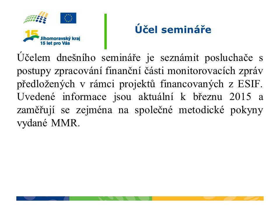 Účel semináře Účelem dnešního semináře je seznámit posluchače s postupy zpracování finanční části monitorovacích zpráv předložených v rámci projektů f
