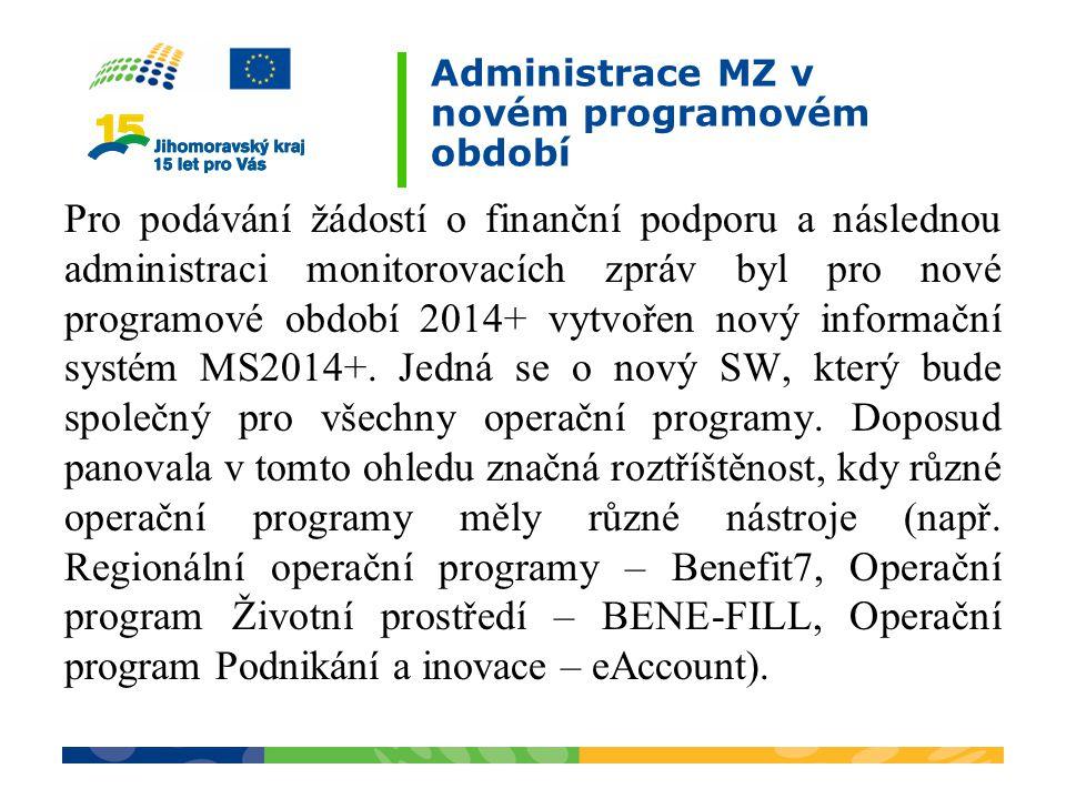 Administrace MZ v novém programovém období Pro podávání žádostí o finanční podporu a následnou administraci monitorovacích zpráv byl pro nové programo