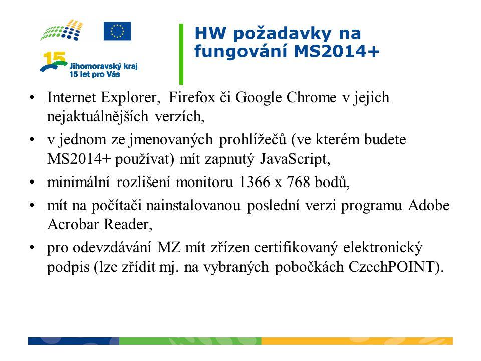 HW požadavky na fungování MS2014+ Internet Explorer, Firefox či Google Chrome v jejich nejaktuálnějších verzích, v jednom ze jmenovaných prohlížečů (v
