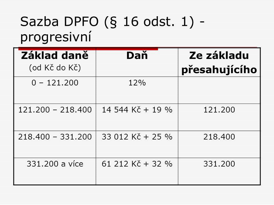 Sazba DPFO (§ 16 odst. 1) - progresivní Základ daně (od Kč do Kč) DaňZe základu přesahujícího 0 – 121.20012% 121.200 – 218.40014 544 Kč + 19 %121.200