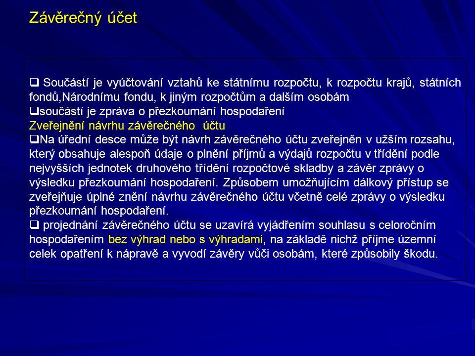 Závěrečný účet  Součástí je vyúčtování vztahů ke státnímu rozpočtu, k rozpočtu krajů, státních fondů,Národnímu fondu, k jiným rozpočtům a dalším osob