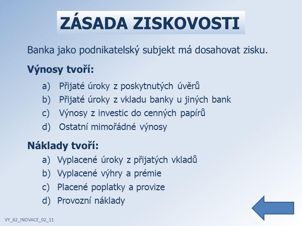 ZÁSADA ZISKOVOSTI VY_62_INOVACE_02_11 Banka jako podnikatelský subjekt má dosahovat zisku.