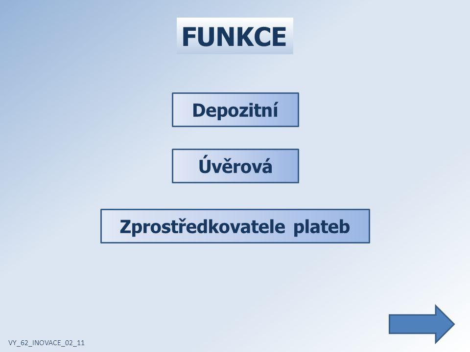 FUNKCE VY_62_INOVACE_02_11 Depozitní Úvěrová Zprostředkovatele plateb