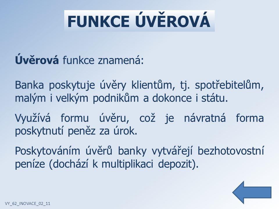 FUNKCE ÚVĚROVÁ VY_62_INOVACE_02_11 Úvěrová funkce znamená: Banka poskytuje úvěry klientům, tj.