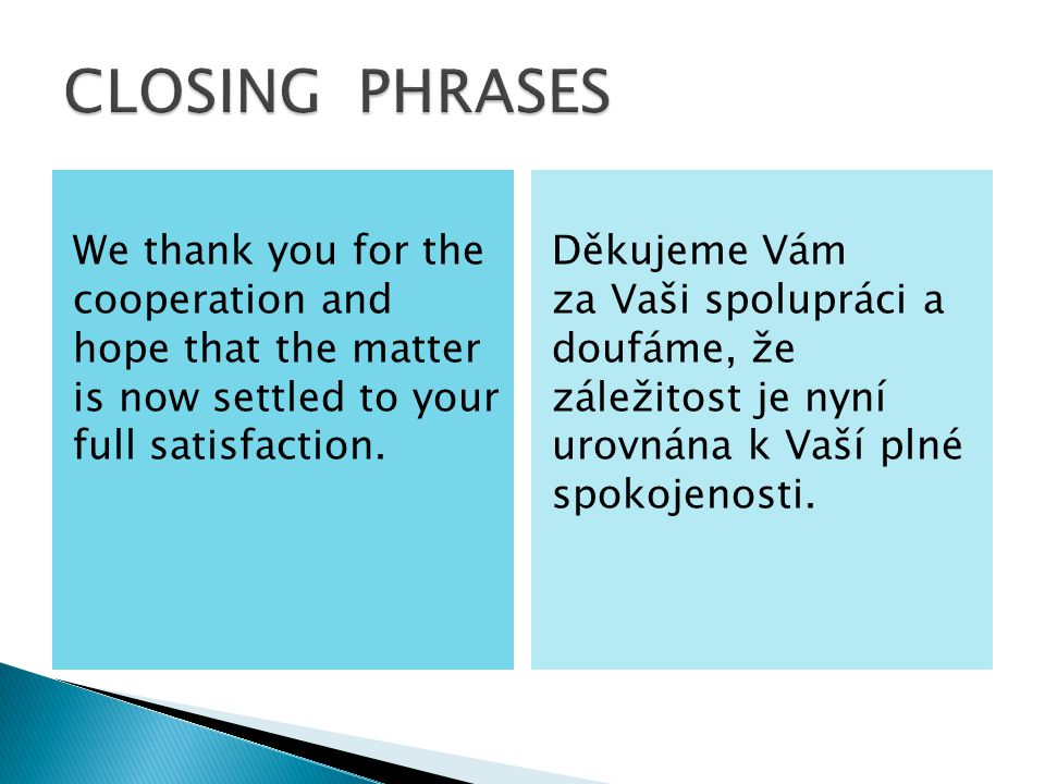 We thank you for the cooperation and hope that the matter is now settled to your full satisfaction.