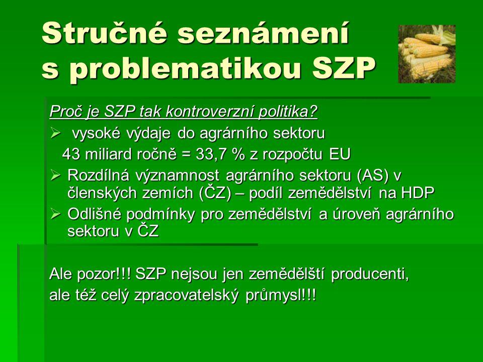 Regulační mechanismy SZP  Cenové regulace  Produkční kvóty  Zvláštní prémie  Regulace zahraničního obchodu (např.