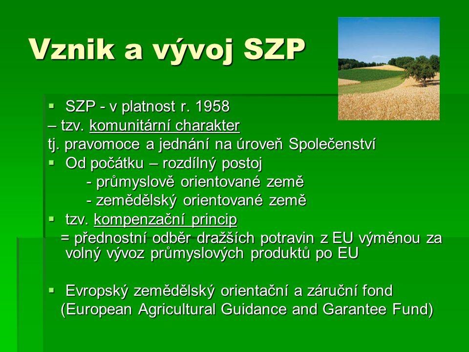 Reformy SZP Agenda 2000 – pokračování  V rámci reformy - snižování intervenčních cen, kompenzace přímými platbami.