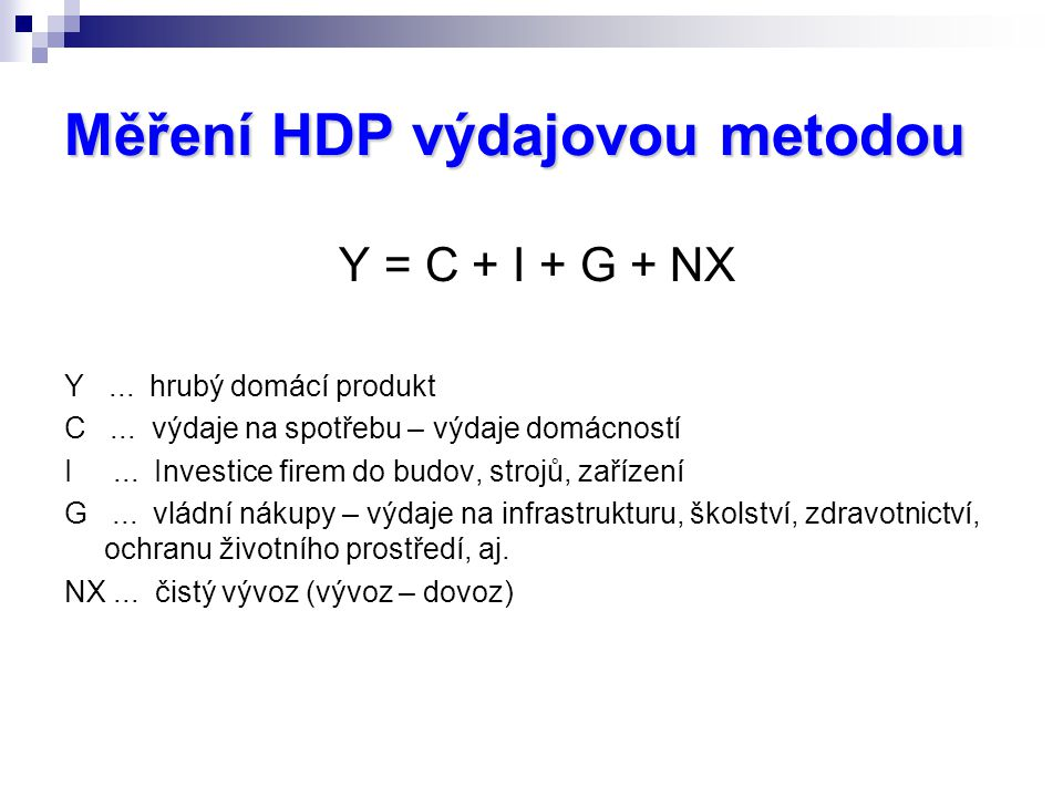Měření HDP výdajovou metodou Y = C + I + G + NX Y...