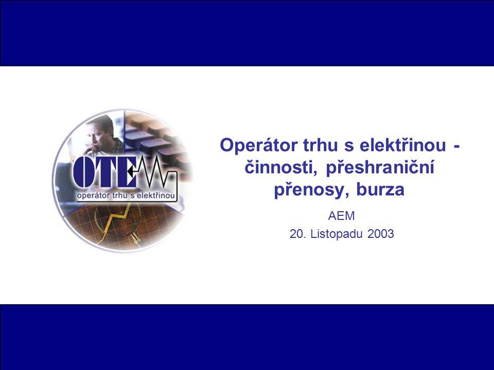 AEM 20. Listopadu 2003 Operátor trhu s elektřinou - činnosti, přeshraniční přenosy, burza