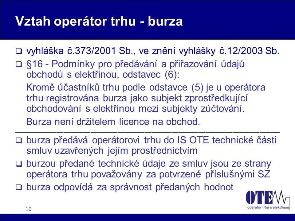 10 Vztah operátor trhu - burza  vyhláška č.373/2001 Sb., ve znění vyhlášky č.12/2003 Sb.  §16 - Podmínky pro předávání a přiřazování údajů obchodů s