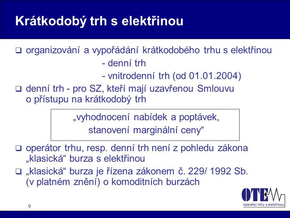 9 Krátkodobý trh s elektřinou  organizování a vypořádání krátkodobého trhu s elektřinou - denní trh - vnitrodenní trh (od 01.01.2004)  denní trh - p