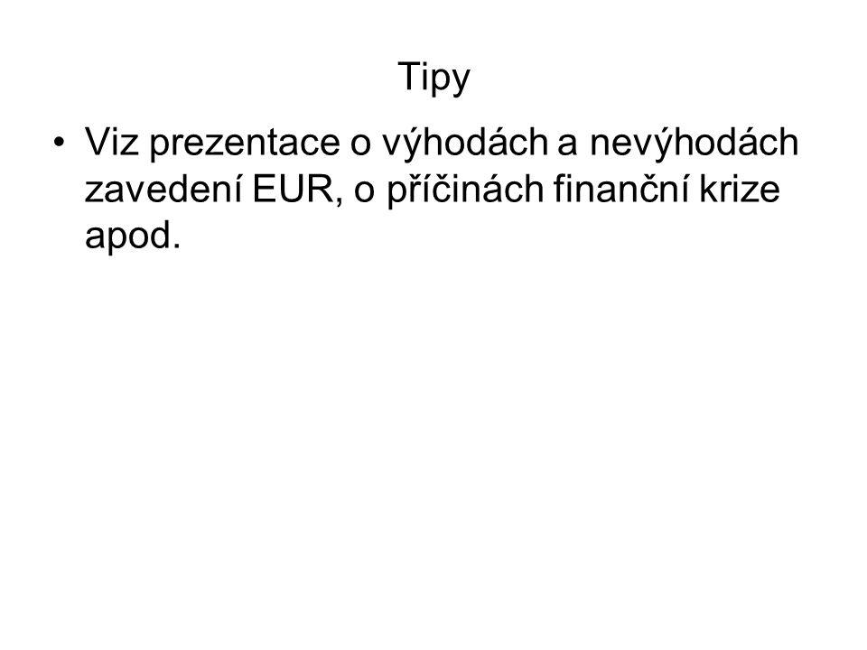 Tipy Viz prezentace o výhodách a nevýhodách zavedení EUR, o příčinách finanční krize apod.