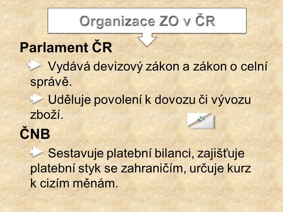 Parlament ČR Vydává devizový zákon a zákon o celní správě. Uděluje povolení k dovozu či vývozu zboží. ČNB Sestavuje platební bilanci, zajišťuje plateb