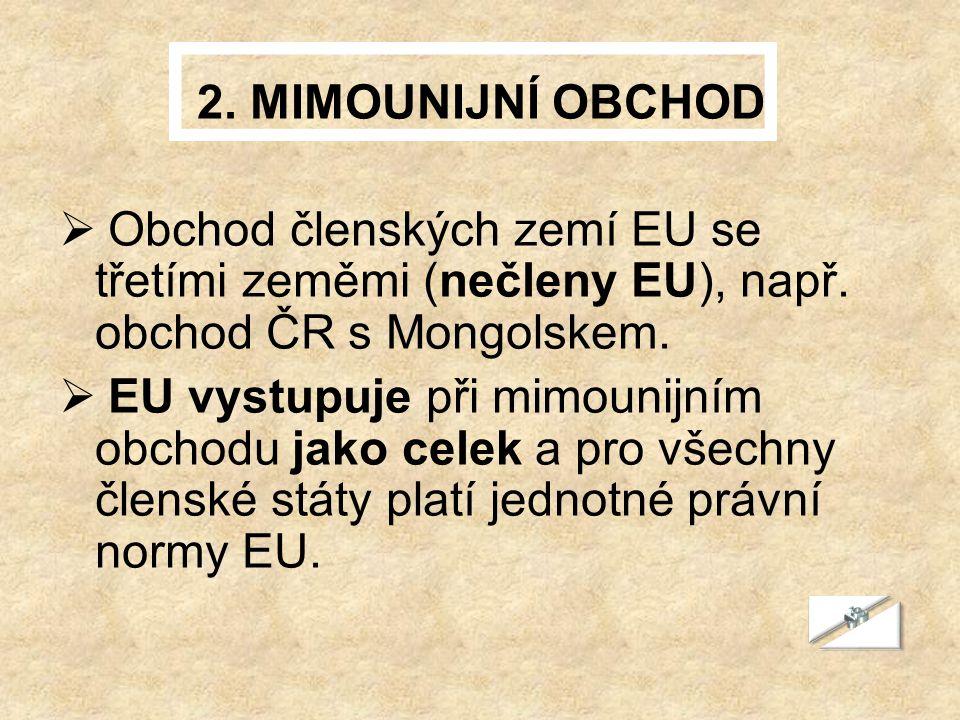 2. MIMOUNIJNÍ OBCHOD  Obchod členských zemí EU se třetími zeměmi (nečleny EU), např. obchod ČR s Mongolskem.  EU vystupuje při mimounijním obchodu j