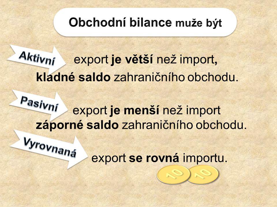 export je větší než import, kladné saldo zahraničního obchodu. export je menší než import záporné saldo zahraničního obchodu. export se rovná importu.