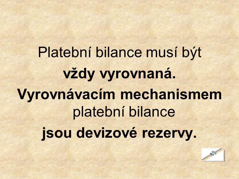 Platební bilance musí být vždy vyrovnaná. Vyrovnávacím mechanismem platební bilance jsou devizové rezervy.