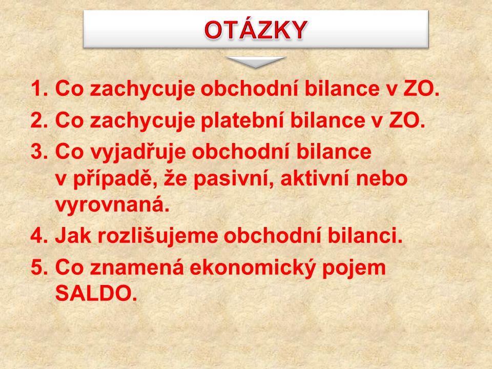 1.Co zachycuje obchodní bilance v ZO. 2.Co zachycuje platební bilance v ZO. 3.Co vyjadřuje obchodní bilance v případě, že pasivní, aktivní nebo vyrovn