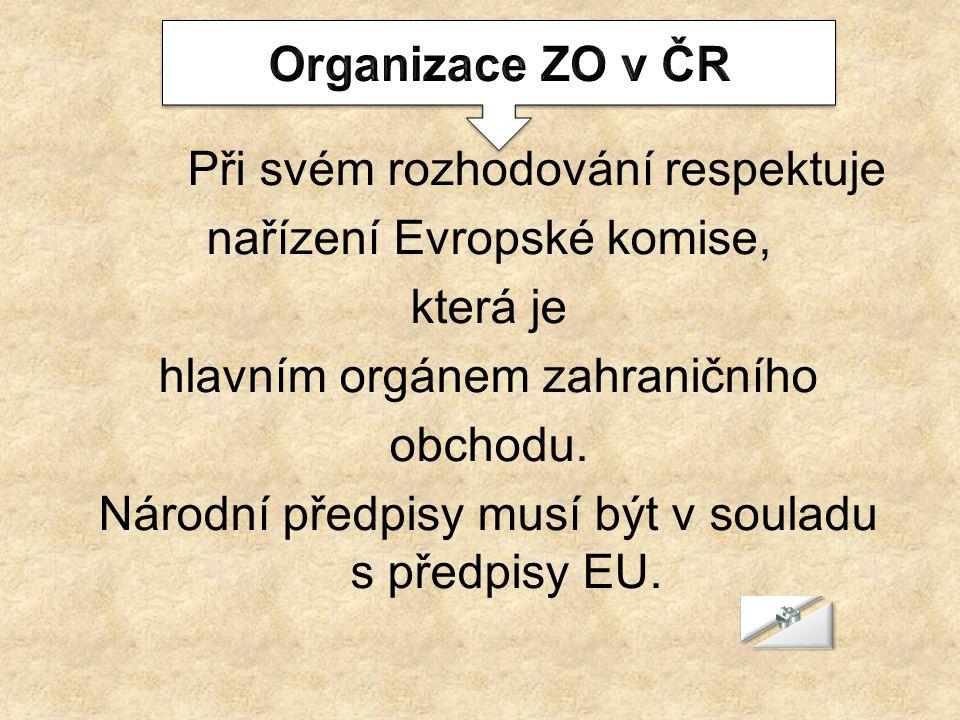 Při svém rozhodování respektuje nařízení Evropské komise, která je hlavním orgánem zahraničního obchodu. Národní předpisy musí být v souladu s předpis