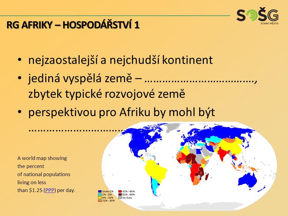 nejzaostalejší a nejchudší kontinent jediná vyspělá země – ………………………………., zbytek typické rozvojové země perspektivou pro Afriku by mohl být …………………………
