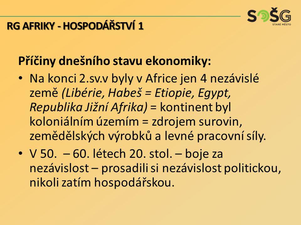 Příčiny dnešního stavu ekonomiky: Na konci 2.sv.v byly v Africe jen 4 nezávislé země (Libérie, Habeš = Etiopie, Egypt, Republika Jižní Afrika) = konti