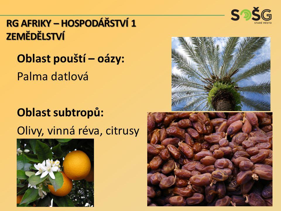 Oblast pouští – oázy: Palma datlová Oblast subtropů: Olivy, vinná réva, citrusy RG AFRIKY – HOSPODÁŘSTVÍ 1 ZEMĚDĚLSTVÍ