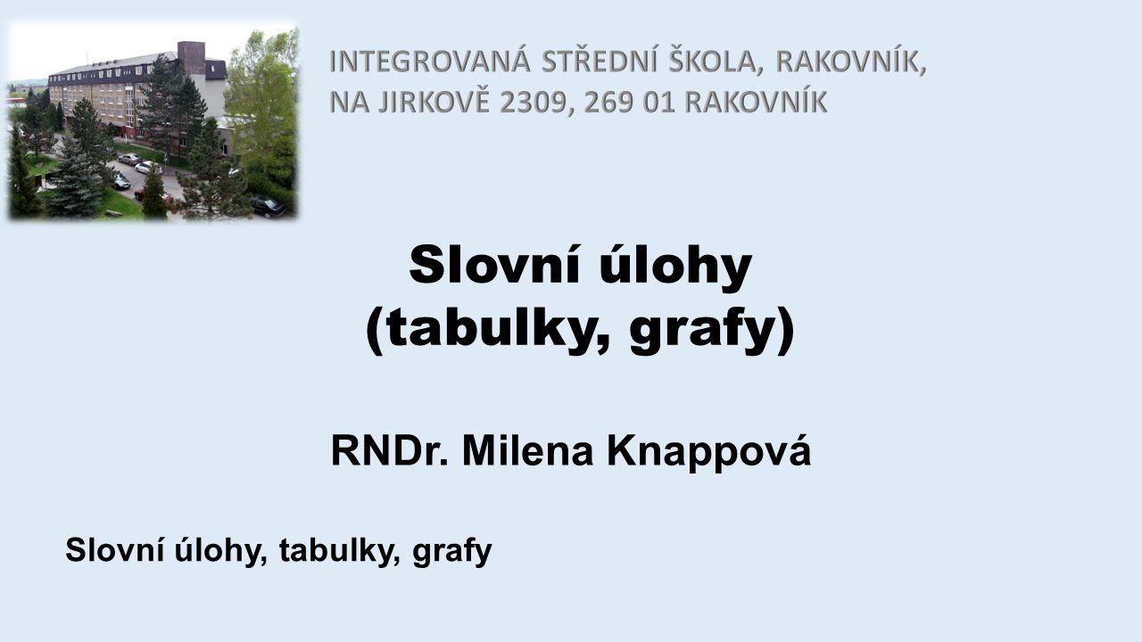 Slovní úlohy (tabulky, grafy) RNDr. Milena Knappová Slovní úlohy, tabulky, grafy