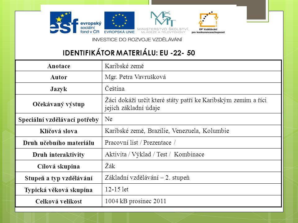 IDENTIFIKÁTOR MATERIÁLU: EU -22- 50 AnotaceKaribské země Autor Mgr. Petra Vavrušková Jazyk Čeština Očekávaný výstup Žáci dokáží určit které státy patř