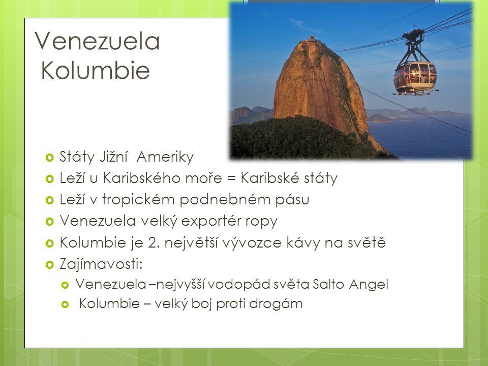 Venezuela Kolumbie  Státy Jižní Ameriky  Leží u Karibského moře = Karibské státy  Leží v tropickém podnebném pásu  Venezuela velký exportér ropy 