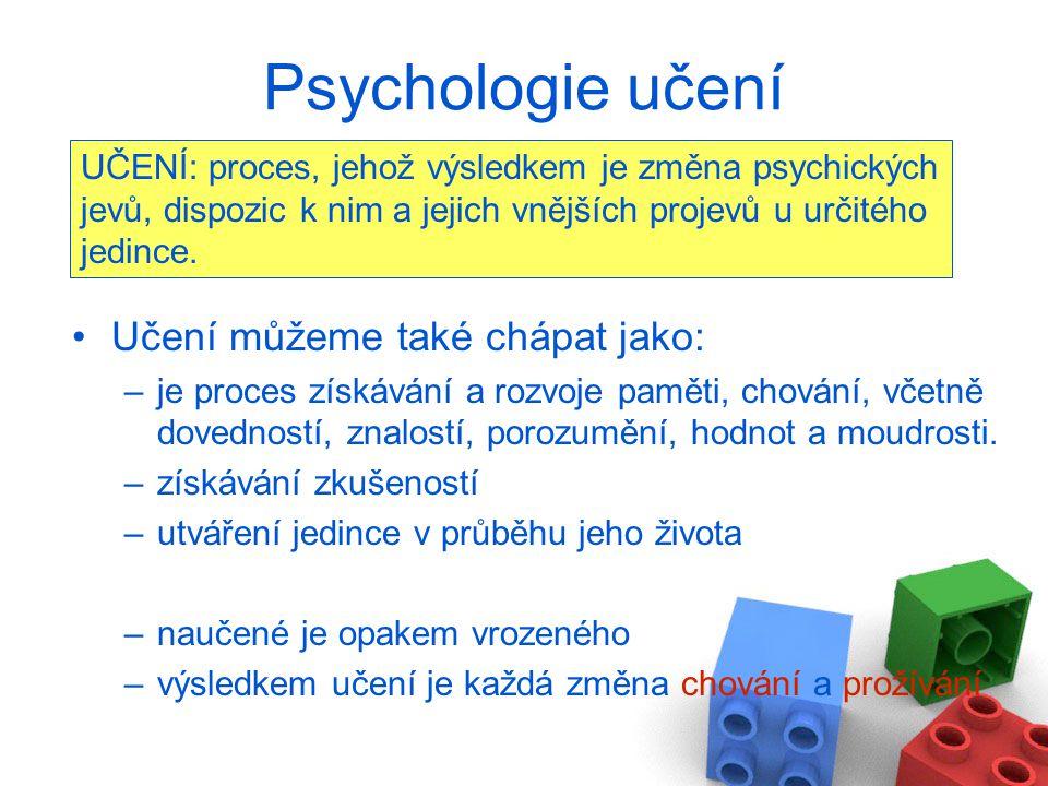 Učení můžeme také chápat jako: –je proces získávání a rozvoje paměti, chování, včetně dovedností, znalostí, porozumění, hodnot a moudrosti. –získávání