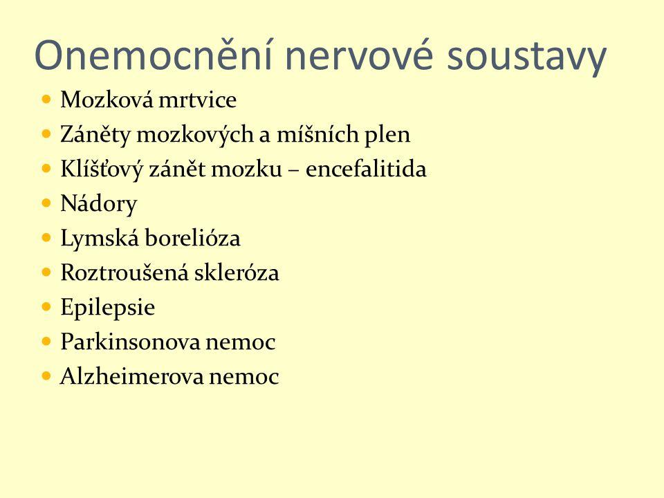 Onemocnění nervové soustavy Mozková mrtvice Záněty mozkových a míšních plen Klíšťový zánět mozku – encefalitida Nádory Lymská borelióza Roztroušená sk