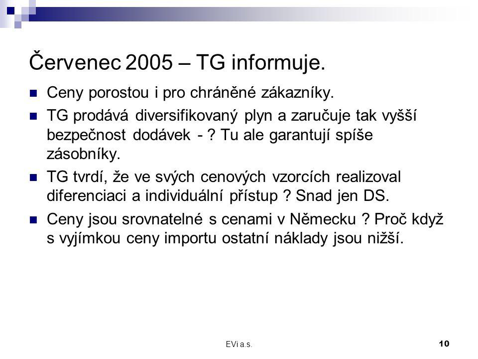 EVi a.s.10 Červenec 2005 – TG informuje. Ceny porostou i pro chráněné zákazníky. TG prodává diversifikovaný plyn a zaručuje tak vyšší bezpečnost dodáv