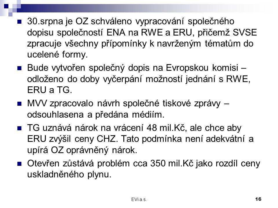 EVi a.s.16 30.srpna je OZ schváleno vypracování společného dopisu společností ENA na RWE a ERU, přičemž SVSE zpracuje všechny přípomínky k navrženým t