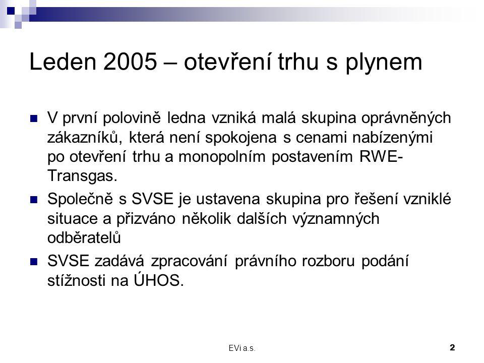 EVi a.s.2 Leden 2005 – otevření trhu s plynem V první polovině ledna vzniká malá skupina oprávněných zákazníků, která není spokojena s cenami nabízený