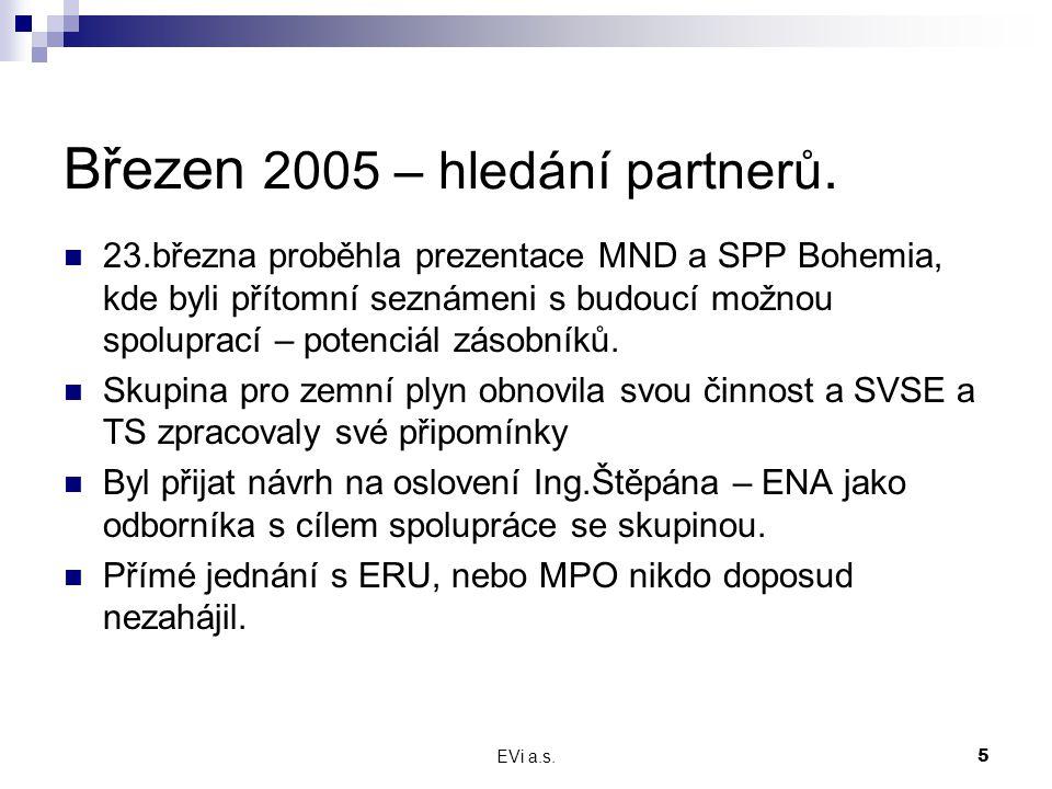 EVi a.s.5 Březen 2005 – hledání partnerů. 23.března proběhla prezentace MND a SPP Bohemia, kde byli přítomní seznámeni s budoucí možnou spoluprací – p