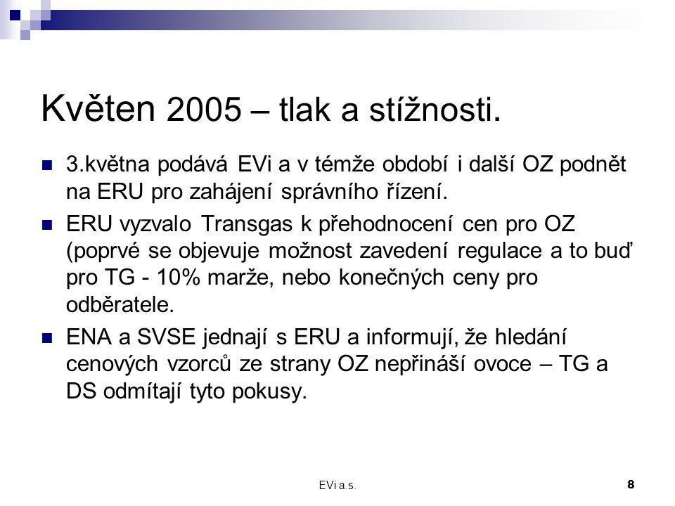 EVi a.s.8 Květen 2005 – tlak a stížnosti. 3.května podává EVi a v témže období i další OZ podnět na ERU pro zahájení správního řízení. ERU vyzvalo Tra
