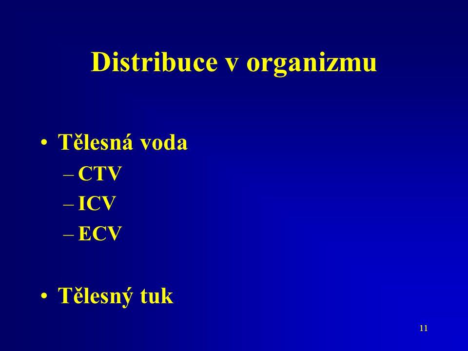 11 Distribuce v organizmu Tělesná voda –CTV –ICV –ECV Tělesný tuk