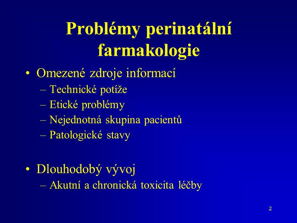 2 Problémy perinatální farmakologie Omezené zdroje informací –Technické potíže –Etické problémy –Nejednotná skupina pacientů –Patologické stavy Dlouho