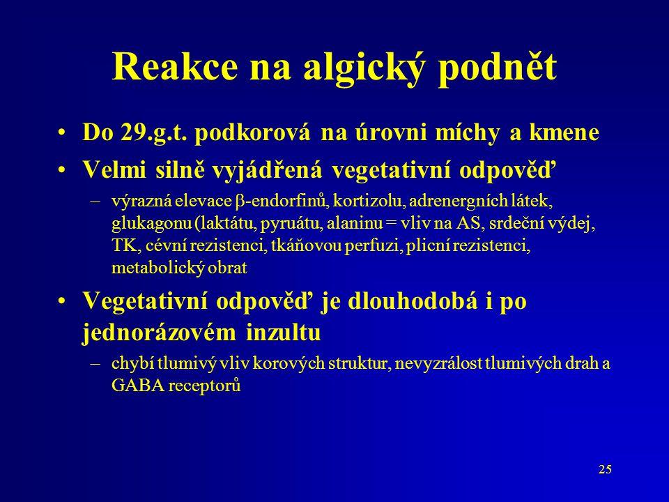 25 Reakce na algický podnět Do 29.g.t. podkorová na úrovni míchy a kmene Velmi silně vyjádřená vegetativní odpověď –výrazná elevace  -endorfinů, kort
