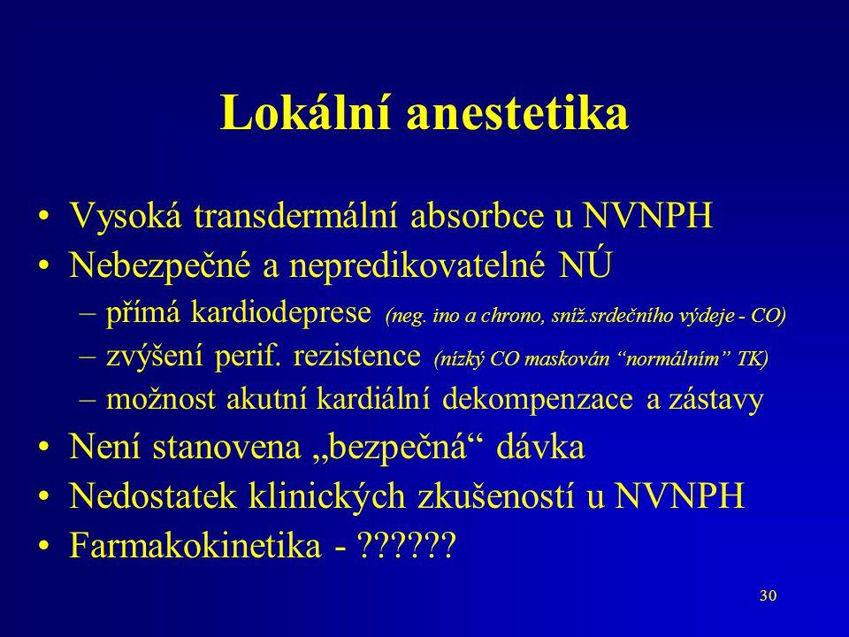 30 Lokální anestetika Vysoká transdermální absorbce u NVNPH Nebezpečné a nepredikovatelné NÚ –přímá kardiodeprese (neg. ino a chrono, sníž.srdečního v