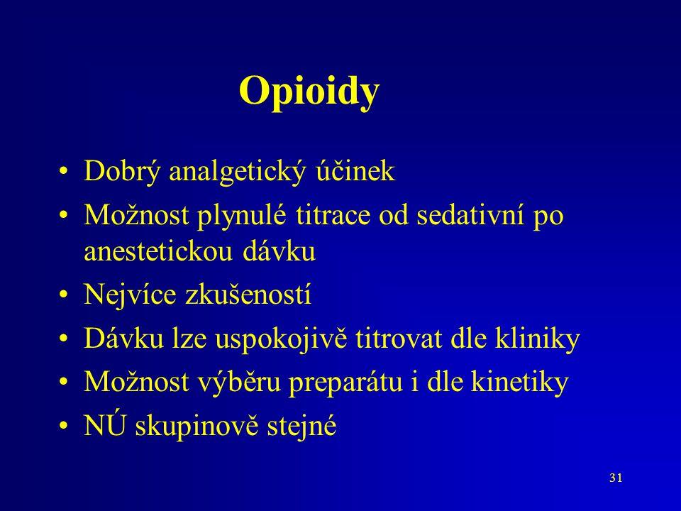 31 Opioidy Dobrý analgetický účinek Možnost plynulé titrace od sedativní po anestetickou dávku Nejvíce zkušeností Dávku lze uspokojivě titrovat dle kl