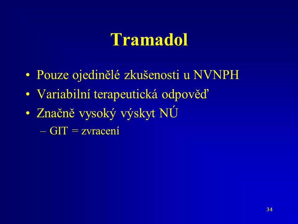 34 Tramadol Pouze ojedinělé zkušenosti u NVNPH Variabilní terapeutická odpověď Značně vysoký výskyt NÚ –GIT = zvracení
