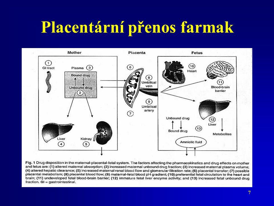 8 Stav vnitřního prostředí matky a plodu koncentrační gradient pH (pK a ) Distribuční prostory Vazebná kapacita
