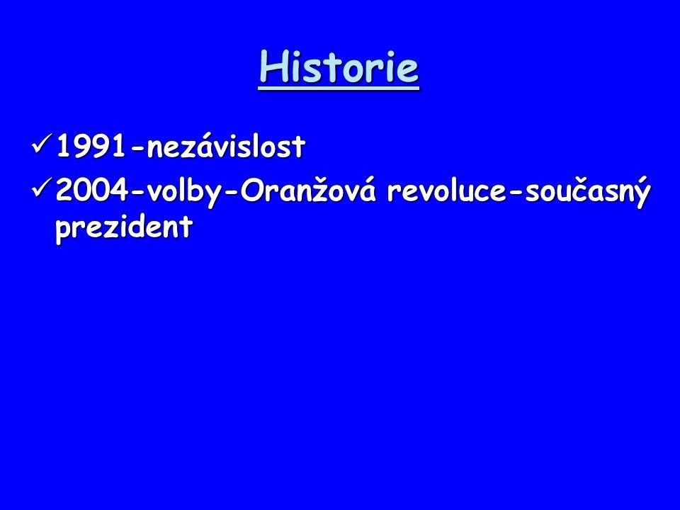 Historie 1991-nezávislost 1991-nezávislost 2004-volby-Oranžová revoluce-současný prezident 2004-volby-Oranžová revoluce-současný prezident