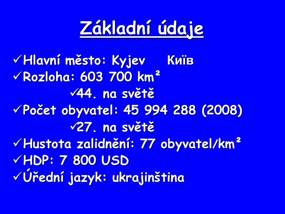 Základní údaje Hlavní město: Kyjev Київ Hlavní město: Kyjev Київ Rozloha: 603 700 km² Rozloha: 603 700 km² 44. na světě 44. na světě Počet obyvatel: 4