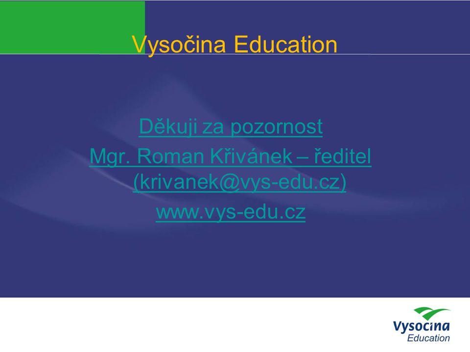 Vysočina Education Děkuji za pozornost Mgr. Roman Křivánek – ředitel (krivanek@vys-edu.cz) www.vys-edu.cz