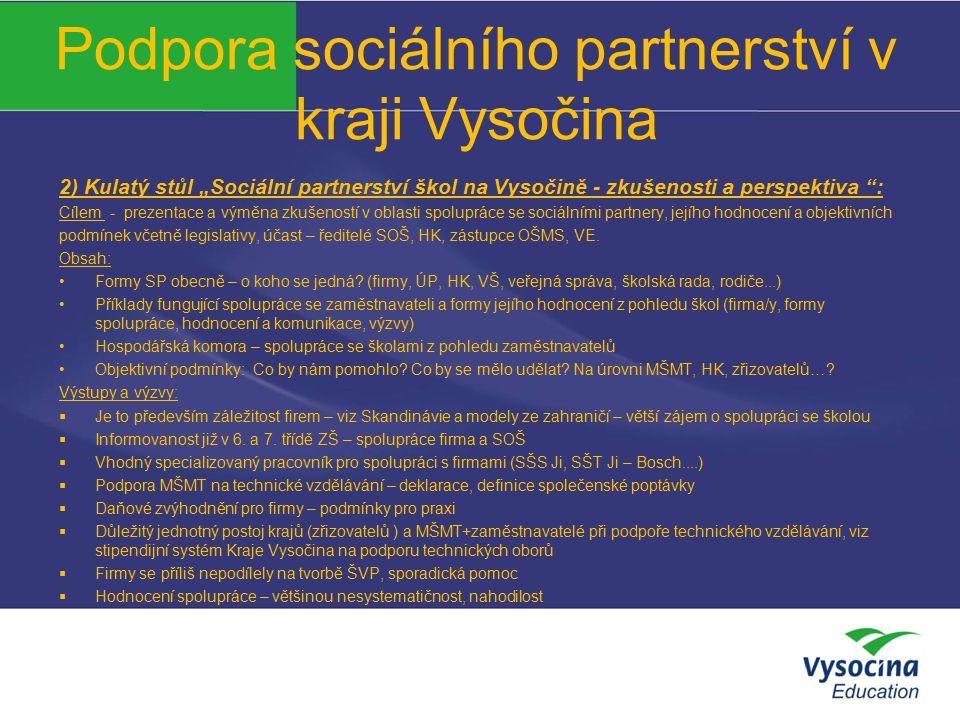 """Podpora sociálního partnerství v kraji Vysočina 2) Kulatý stůl """"Sociální partnerství škol na Vysočině - zkušenosti a perspektiva """": Cílem - prezentace"""