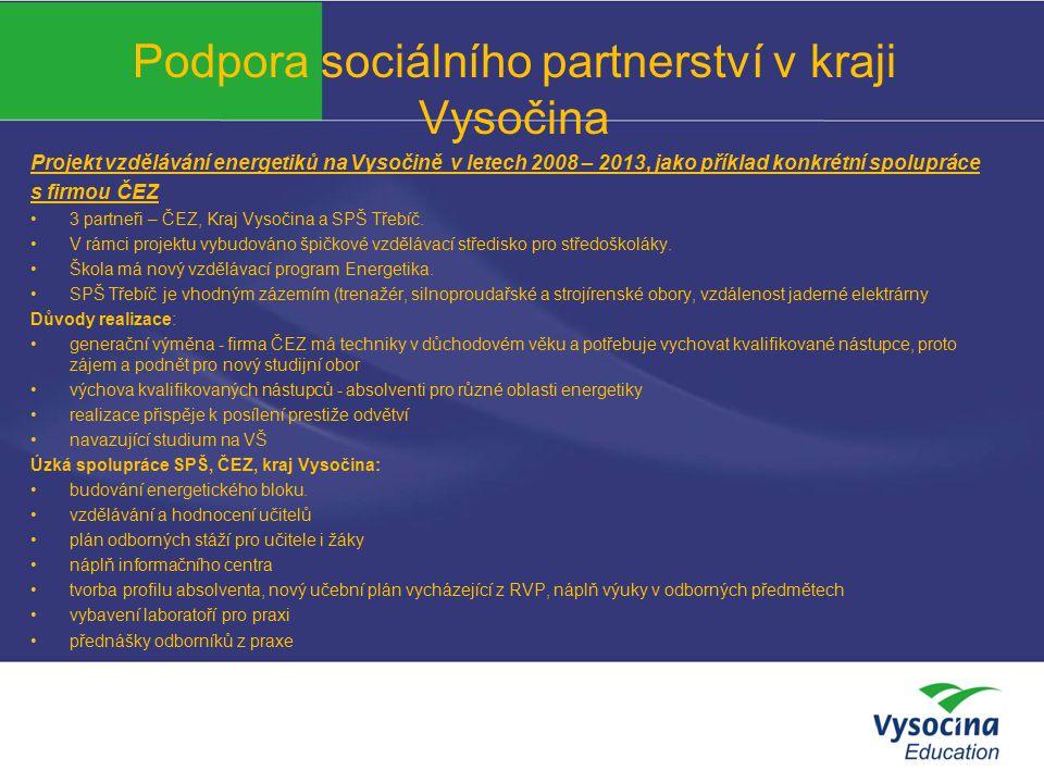 Podpora sociálního partnerství v kraji Vysočina Projekt vzdělávání energetiků na Vysočině v letech 2008 – 2013, jako příklad konkrétní spolupráce s fi
